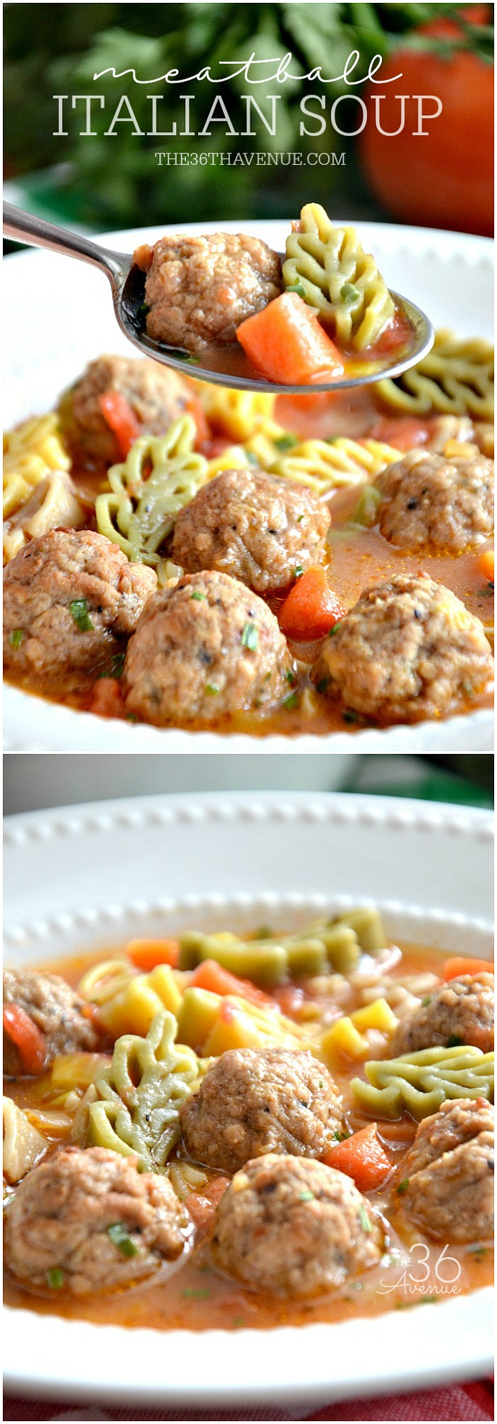 Meatball Italian Soup Recipe - This delicious One Pot Soup is super easy to make and ready in 30 minutes or less! I love easy soup recipes! PIN IT NOW and make it later!