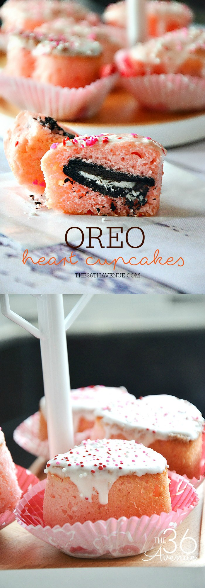 Oreo Cupcakes  -  Cupcakes filled with yummy Oreos... Perfect with a cold cup of milk. Yummy!