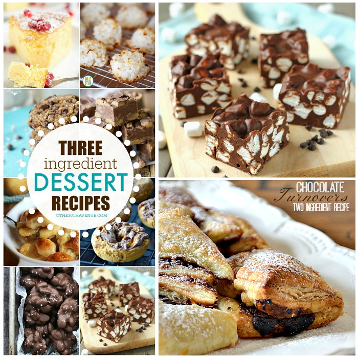 Three Ingredient Recipes - Delicious and easy dessert recipes that you can make with three ingredients or less! Make sure to PIN IT NOW and make these yummy desserts later!