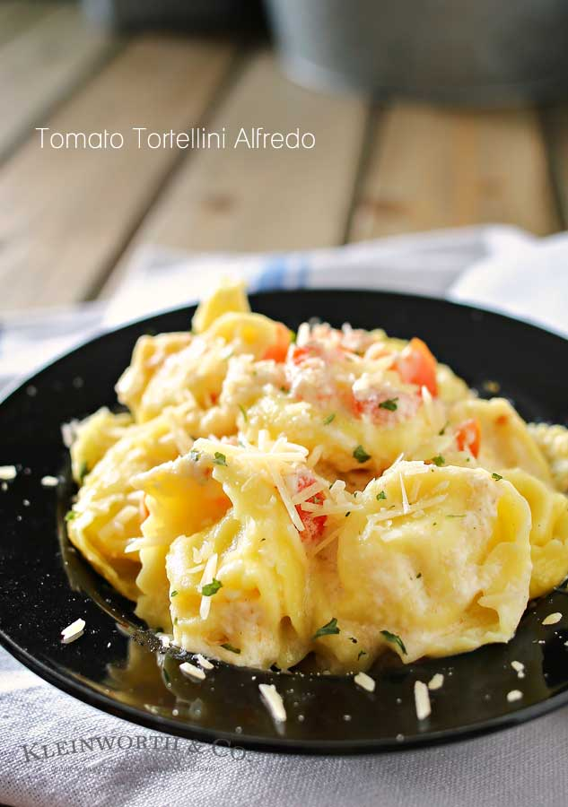 This delicious 20 minute Tomato Tortellini Alfredo Recipe is amazing! If you are a pasta lover you are going to love the combination of tortellini, fresh tomatoes, Parmesan cheese, and creamy homemade Alfredo sauce!
