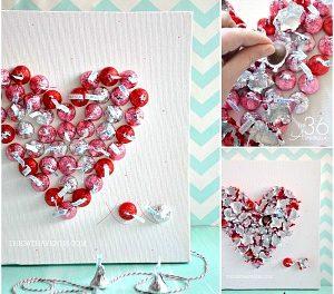 Handmade Valentine Gift – Kisses Canvas