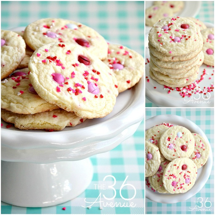 Valentine Cookie Recipe - Homemade cookies are the best! This easy Valentine Cake Mix Cookie Recipe is super easy to make and you'll need just a few ingredients. These Funfetti Cookies are festive, yummy, and perfect for gifts or any time you are craving a snack! PIN IT NOW and make them later!