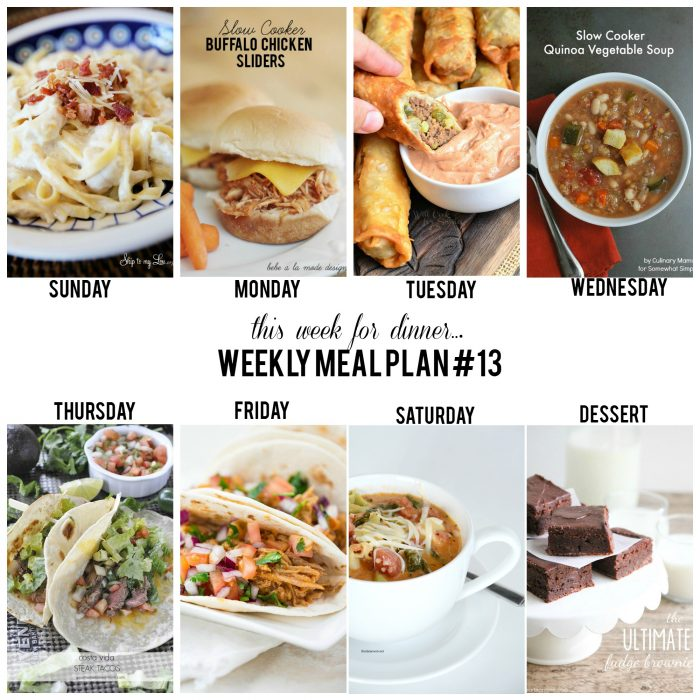 Weekly Meal Plan 13 - Delicious recipes for each day of the week!