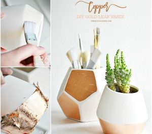 DIY Copper Gold Leaf Vases