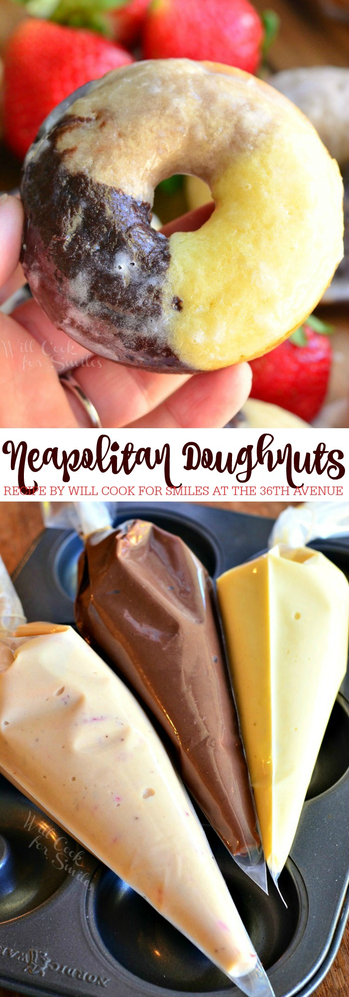 Neapolitan Doughnuts - Soft, moist, cake-like baked doughnuts inspired by the Neapolitan ice cream and made with three layers of different flavor in one. These doughnuts have chocolate, vanilla and strawberry flavors in one doughnut and dipped in glaze as an extra sweet touch.