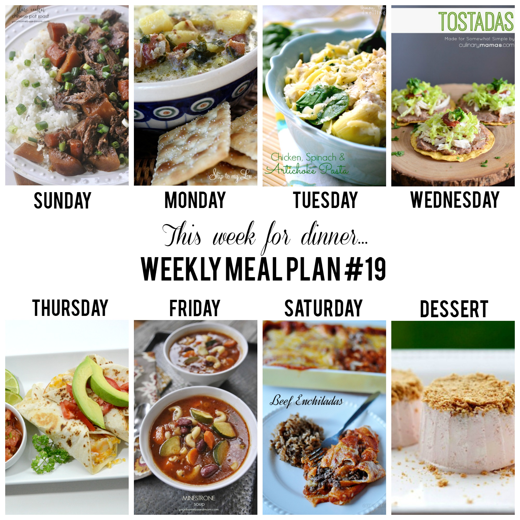 Weekly Meal Plan - A recipe for each day of the week!