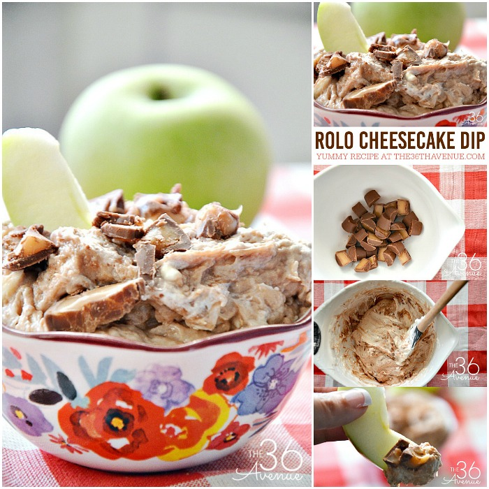 Dessert Recipe - This delicious Rolo Cheesecake Dip is super easy to make and it has just three ingredients. Pin it now and make it later. This dip recipe is perfect for dessert or as a snack.
