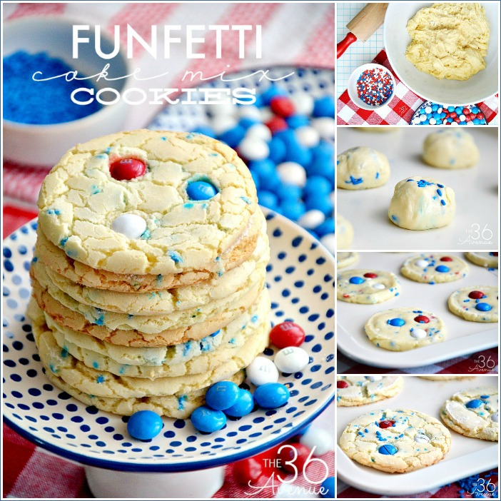 Cookie Recipes - These Funfetti Cake Mix Cookies are perfect for the Fourth of July and Memorial Day. Pin it NOW and make them later!
