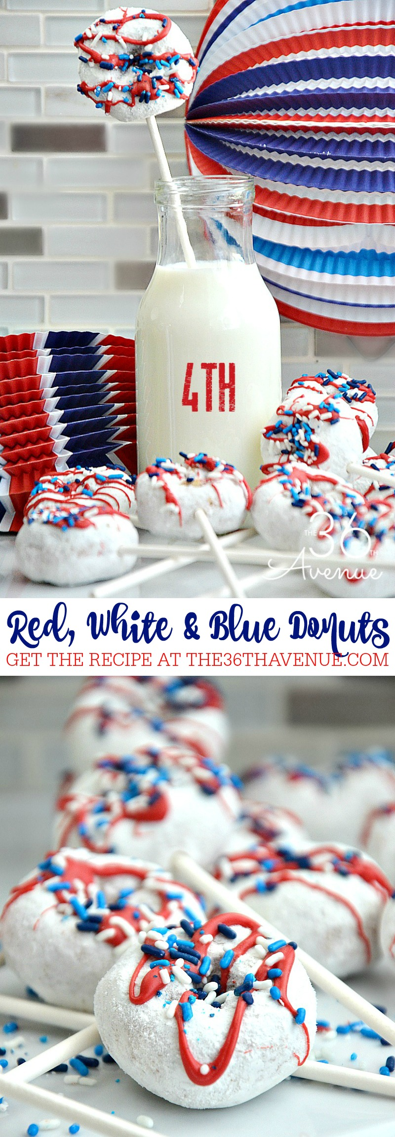 Make these easy and delicious doughnut pops to celebrate the Fourth of July. You need just a few ingredients and they are perfect for a patriotic breakfast!