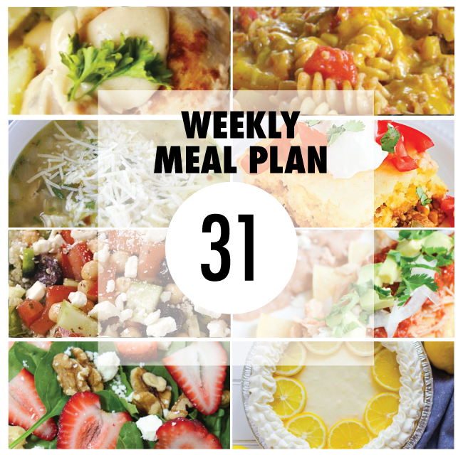 Weekly Meal Plan- Week 31