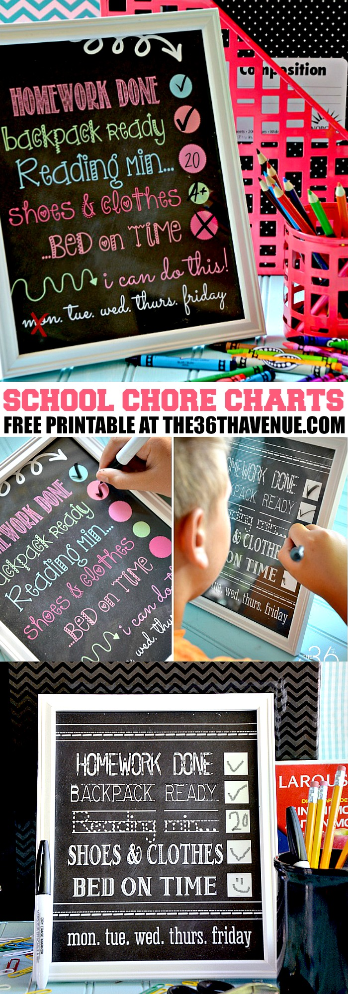Back to School Chore Chart - Awesome way to keep the kids organized and ready for school Pin it now and print it later.