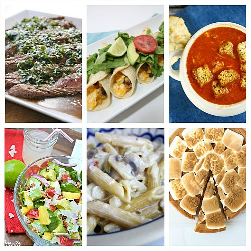 Weekly Meal Plan - We have for you Baked Flautas, Slow Cooker Chicken Tomato Soup, Penne with Cream Sauce, Tropical Spinach Salad, Biscuit Chicken Pot Pie, Slow Cooker White Bean and Chicken Chili, Grilled Marinated Steak, and for dessert S'mores Pazookie.