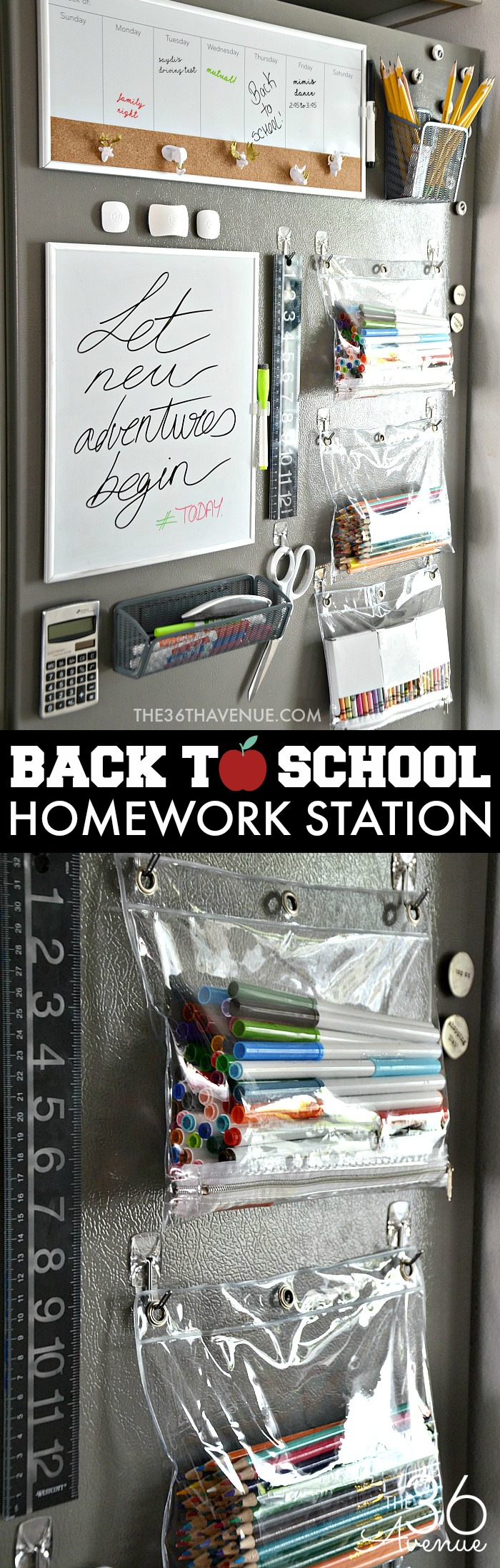 Organization Homework Station. What a great way to keep school supplies organized and handy. Pin it now and make it later!