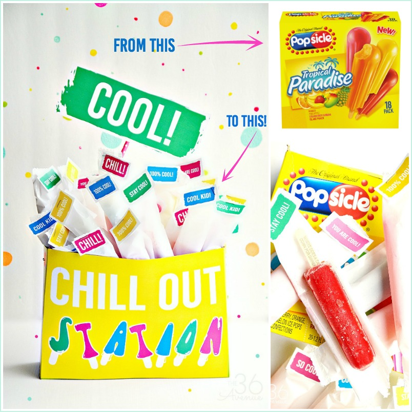 Turn a popsicle box into a refreshing Chill Out Station with these fun printables. Such a cool idea for pool and birthday parties. #OriginalPopsicle