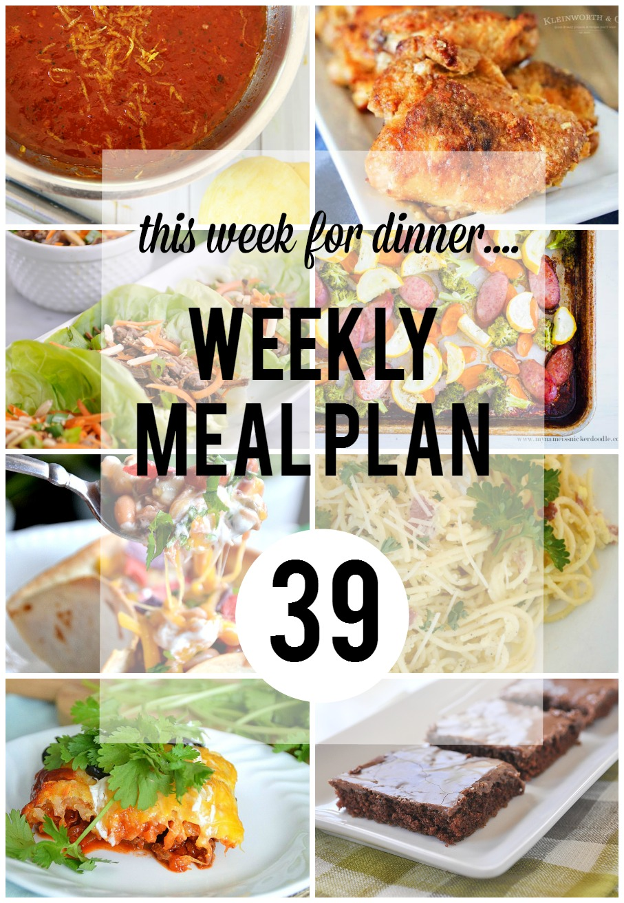 Super easy and delicious easy recipes for the entire week! We have Oven Fried Chicken, 5 Minute Marinara Sauce, Korean Beef Lettuce Wraps, Roasted Veggies and Sausage, Slow Cooker Bean Burrito Soup, Spaghetti Carbonara, Southwestern Tatertot Casserole, and for dessert Texas Sheet Cake.