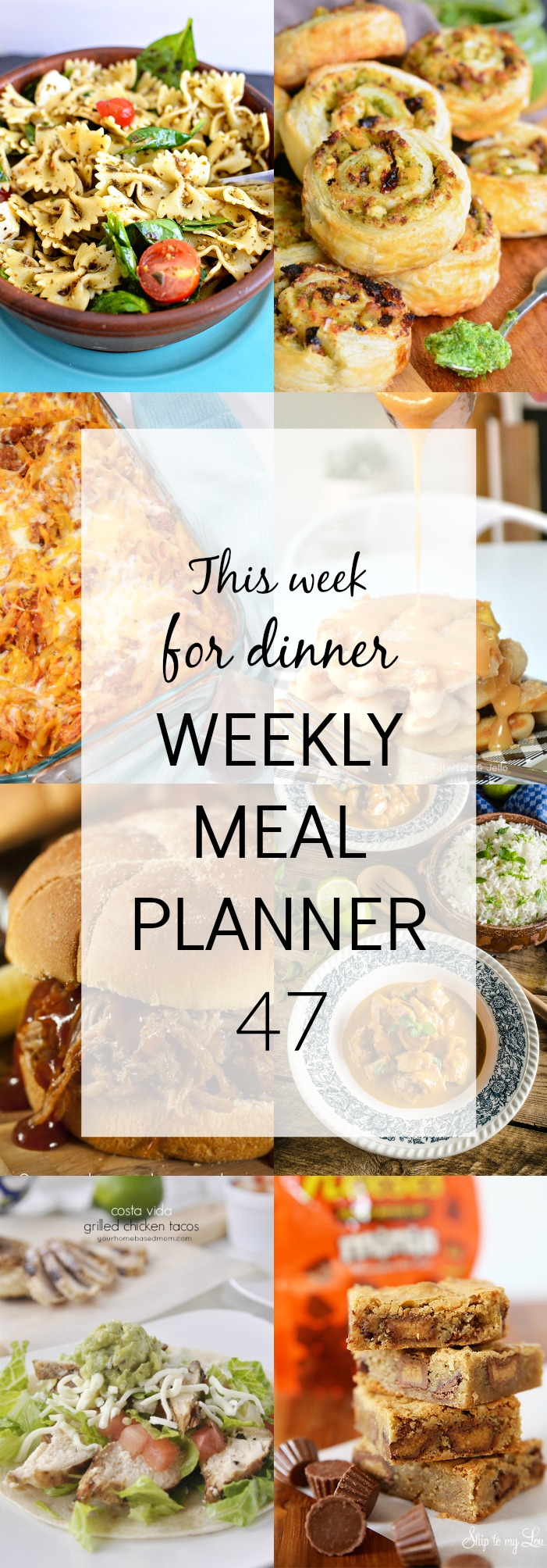 weekly meal plan ready and waiting for you! This week in th menu we have Pesto Caprese Pasta Salad, Pesto Chicken Pinwheels, Costa Vida Grilled Chicken Taco, Lasagna Bake with Penne Pasta, Curry Chicken, Slow Cooker BBQ Sandwiches, Churro Waffles with Dulce de Leche Topping, and for dessert Peanut Butter Cup Blondies!