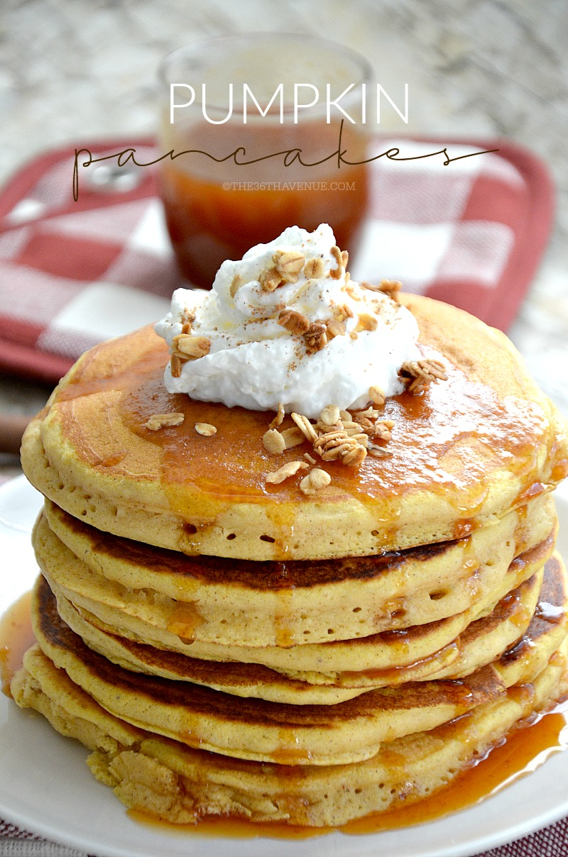 Fall Recipes - Delicious and easy homemade pumpkin pancakes and pumpkin syrup. These pancakes make the perfect Fall breakfast.