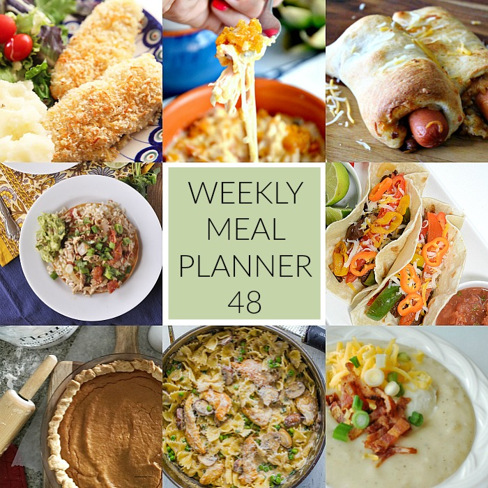 Are we ready for our Weekly Meal Plan number 48? This week we have Chicken & Peas Creamy Pasta, Chicken Cordon Bleu Casserole, Slow Cooker Chicken Tinga, Stake Fajitas, Chili Cheese Dogs, Baked Potato Soup and for dessert Crispy Baked Garlic Chicken