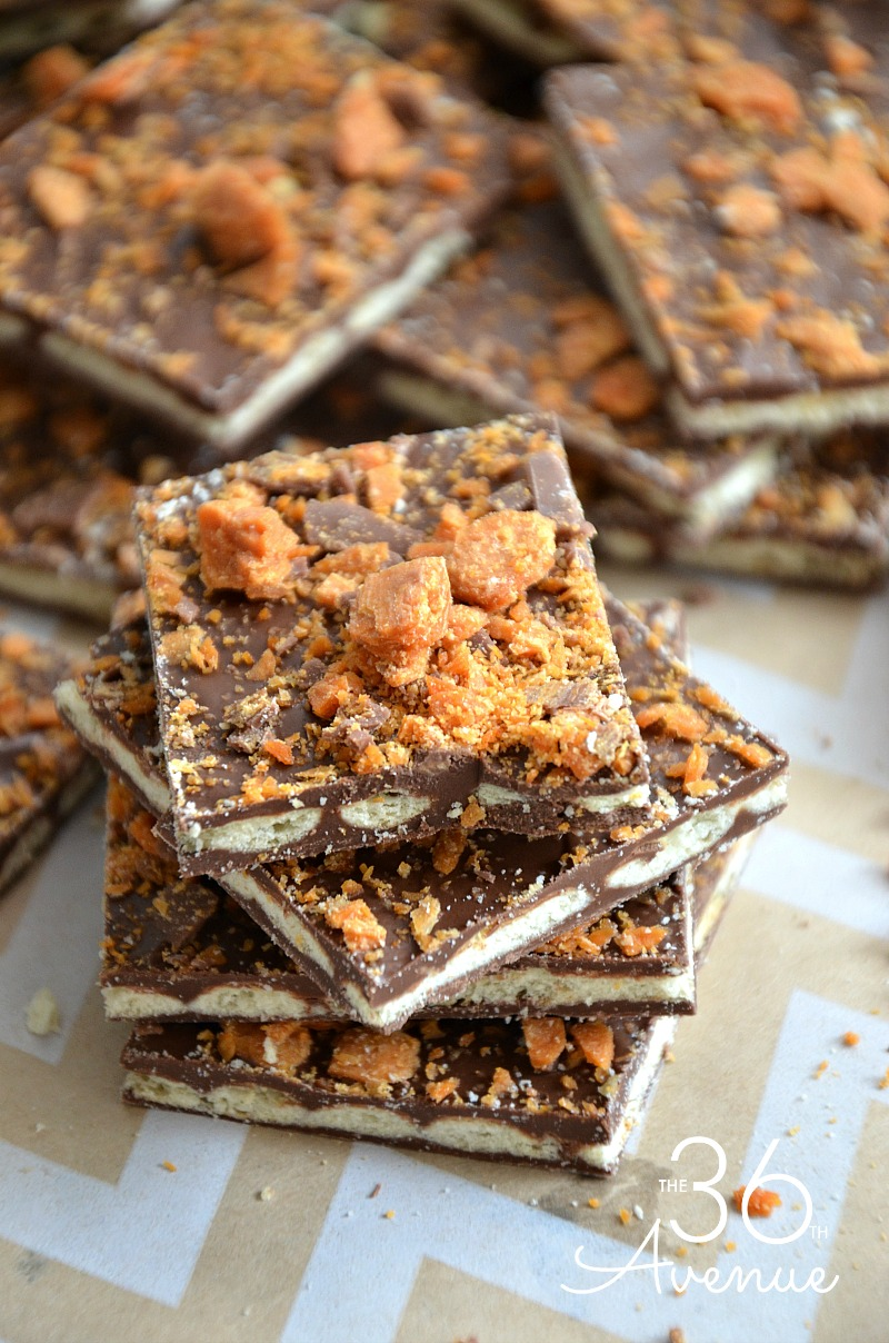 Butterfinger Crunchy Squares make a perfect dessert or easy snack. This recipe has just four ingredients and it takes fifteen minutes to make. Perfect for parties or anytime you are craving a sweet treat.