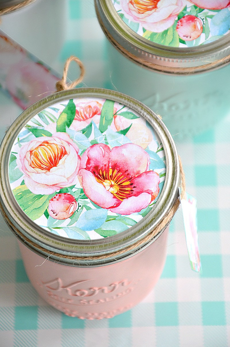Mason Jars and Handmade Gift Idea. Perfect for Mother's Day, Easter, birthday gifts and more.
