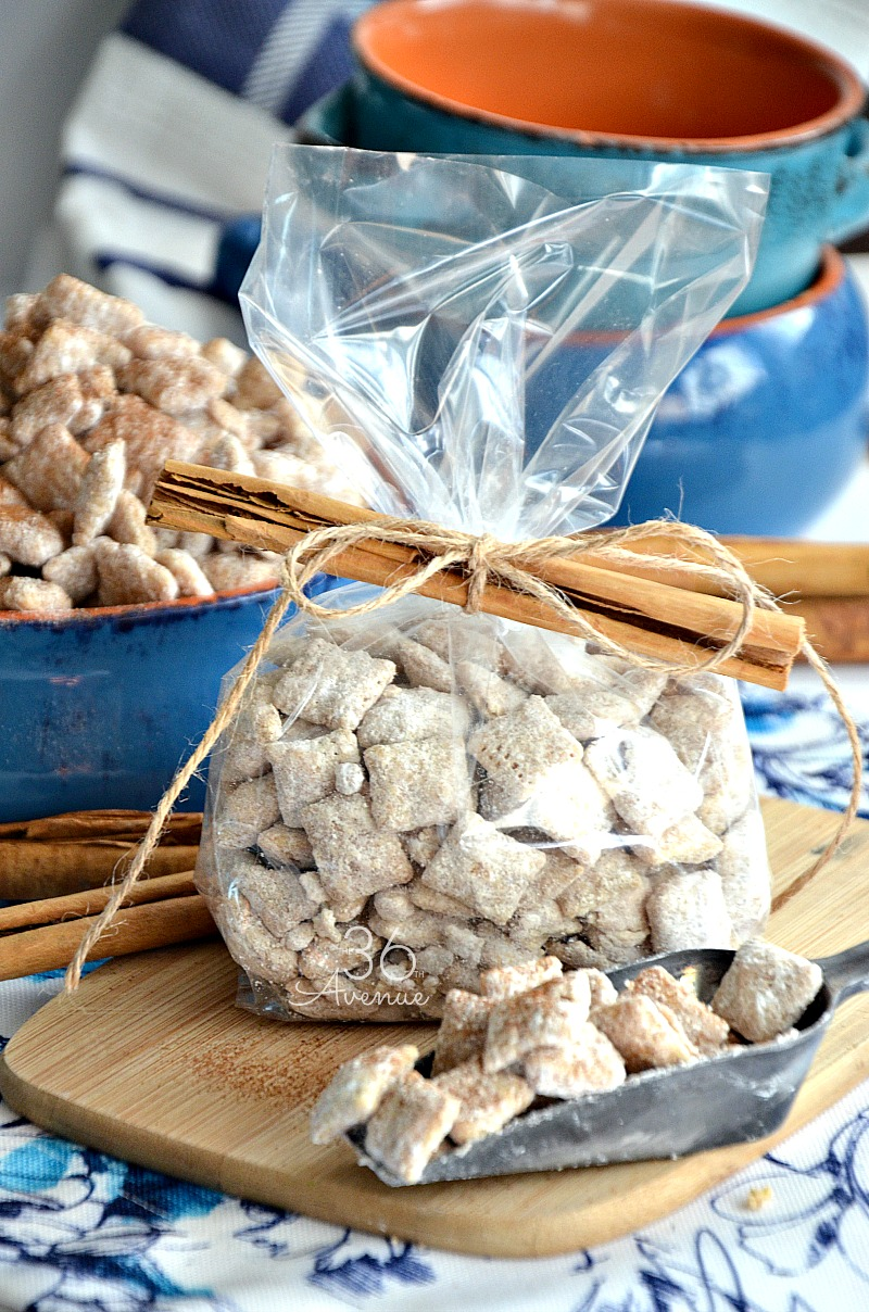 Churro Puppy Chow Recipe - Easy snack or dessert inspired by the delicious taste of sugar and cinnamon dipped churros.