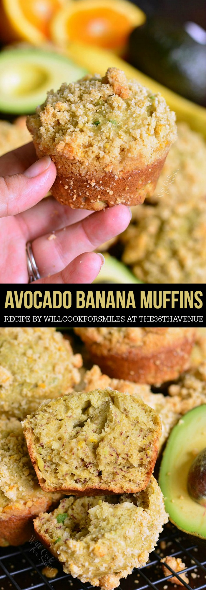 banana muffins made with an addition of avocado and orange essence. Avocado adds wonderful texture and health benefit to these muffins and the flavor combination is divine.