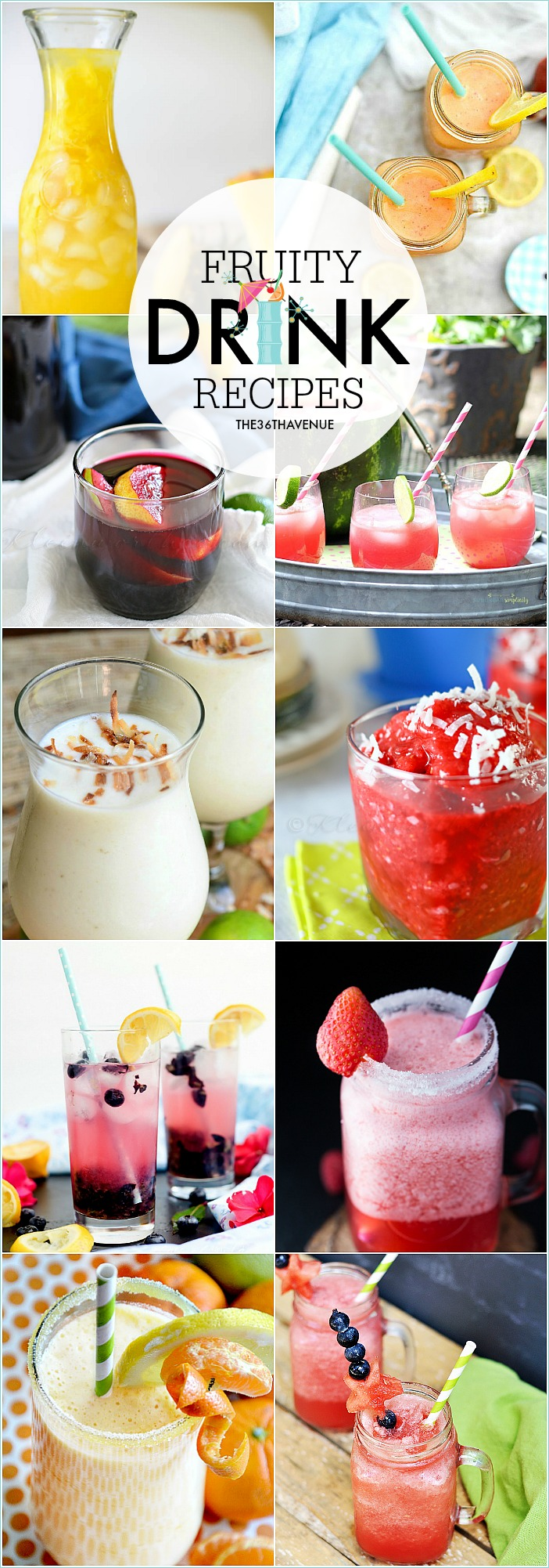 These Fruity Drink Recipes are packed with fresh delicious fruits. These are the perfect drinks to serve on a hot summer day.