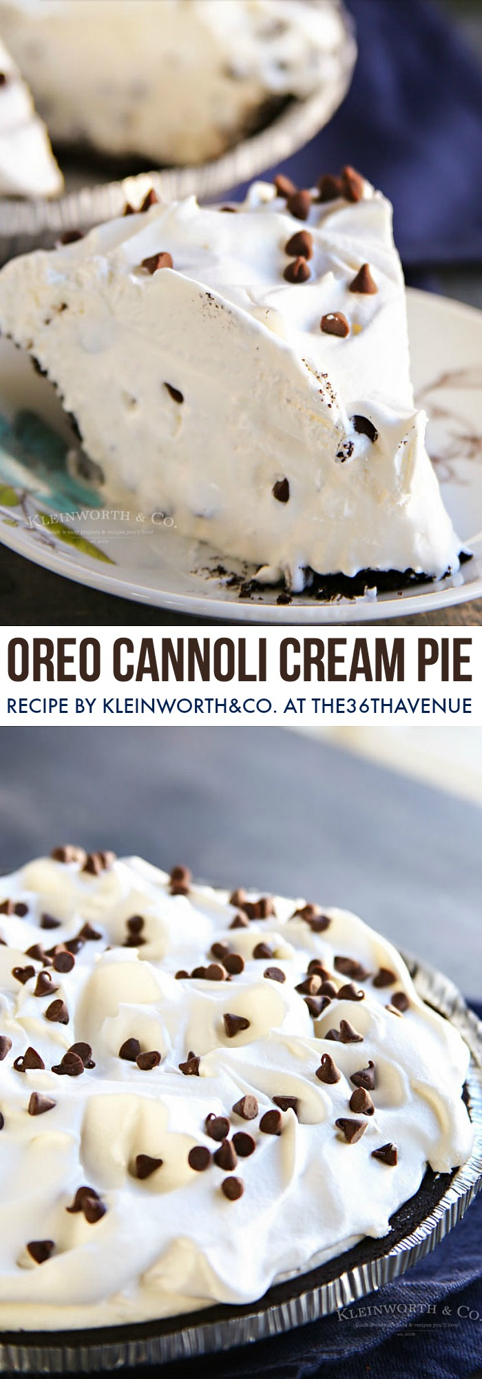 Easy Pie Recipe - This Oreo Cannoli Cream Pie is the perfect dessert for every celebration