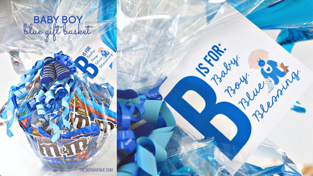 Baby Boy Blue Basket Gift Idea